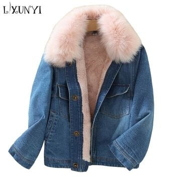 Trendy LXUNYI 2018 Autumn Winter Faux Fox Fur Thick Denim Jacket Women Padded Jacket With Fur Collar Covered Button Short Coat Ladies AT_94_13