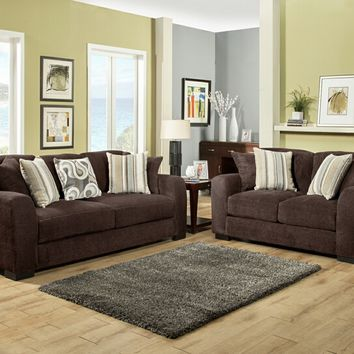 Benchley Wesley S/L Chocolate 2 pc wesley collection chocolate color fabric upholstered sofa and love seat with rounded arms