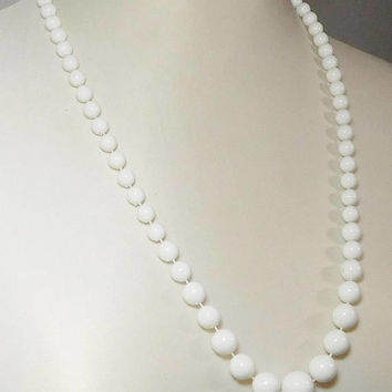 """White Bead Necklace, Hand Knotted, Lightweight  Plastic Beads, Graduated Size Beads, 26 1/2"""" long, Vintage Costume Jewelry"""