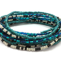 3 Stretch seed bead wrap bracelets, stacking, beaded, boho anklet, bohemian, stretchy stackable multi strand, blue teal green black silver