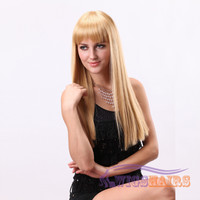 "22"" Long Straight with Bangs Synthetic Wigs for Women Basic Cap Blonde"