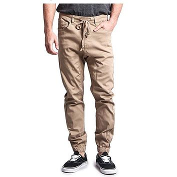 Solid Color Harem Twill Jogger Pants in Khaki