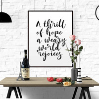 "Christian Christmas decor ""A thrill of hope"" Bible Verse Quote calligraphy Christmas Decoration wall art print Christmas art holiday print"