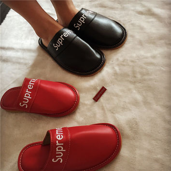 """Supreme"" Street Tide Card Fashion Retro Couple Home Cotton Slippers PU leather Car Slippers Male Female"
