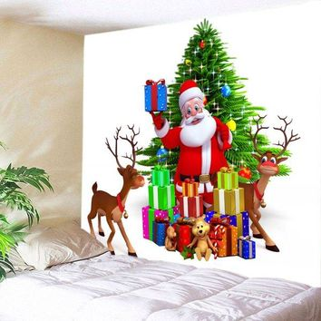 Wall Hanging Art Christmas Tree Santa Gifts Print Tapestry -  W59 Inch * L59 Inch
