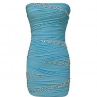 Blue Strapless Bodycon Dress with Pearl&Diamante Detail
