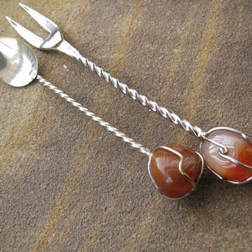 Vintage Fork and Spoon, Hors d'oeuvres Set, Cocktail Condiment, Serving Utensils, Polished Agate, Artisan Handmade, Hostess Gift