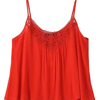 Red Spaghetti Strap Crochet Lace Panel Cropped Cami