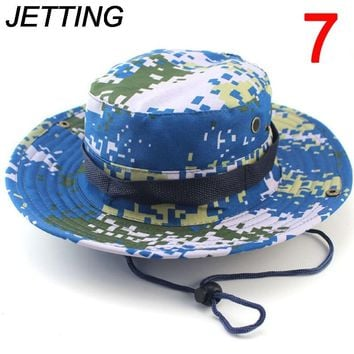 JETTING 1Pc Sun Hats Cap Men Women Camouflage Bucket Hat With String Fisherman Cap Military Panama Safari Boonie