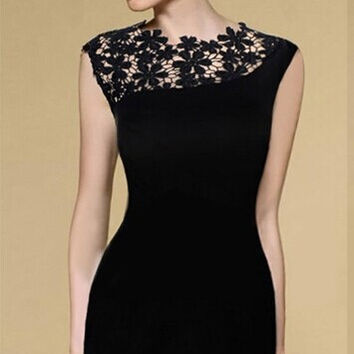 Hot Sale Skinny Prom Dress Dress Lace Mosaic Sexy One Piece Dress [6048641473]