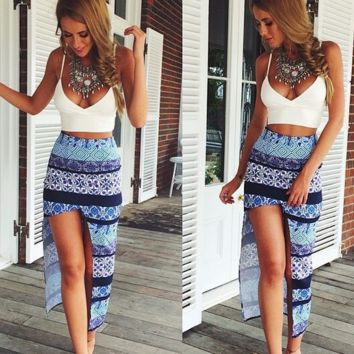 ashion printing irregular split two-piece outfit