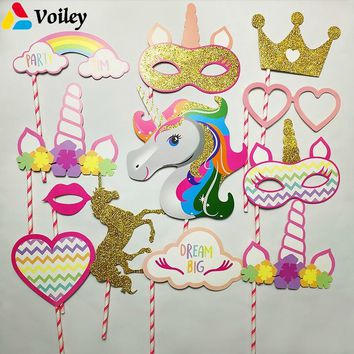 VOILEY Bridal Shower Photo Booth Props Flamingo Unicorn Party Decorations Birthday Party Photobooth Props Wedding Decorations,8