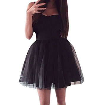 Women Dress Formal Ball Gown Short Lace Tulle Prom Party  Bridesmaid Gown Dress Vestido#XT