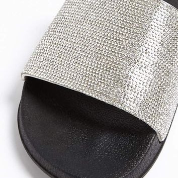 Rhinestone Faux Leather Slides