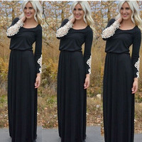 Lace Patchwork Long Sleeve Maxi Dress