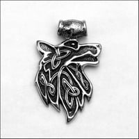 Large Viking Fenrir Snarling Wolf Spirit Design Stainless Steel Pendant with Black Accents
