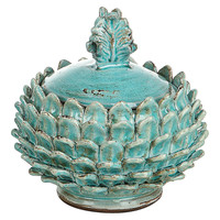 "One Kings Lane - Pretty Sneaky - 7"" Artichoke Cachepot w/ Lid"