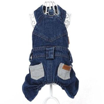 PEAPON Cute Dog pet cat denim overall Coat jumpsuit wedding party clothes dog Puppy denim Dress Skirt pet dog poodle Lover clothing