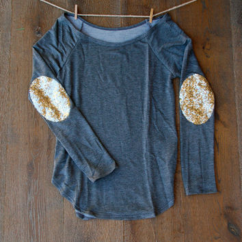 Sequin Elbow Patch Slouchy Pullover Tunic  Women's Long Sleeve French Terry Tee Plus Size Gift Ideas for Her Teens Holiday Fashion