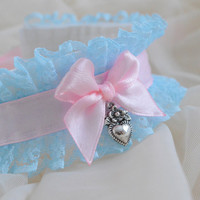 Sky of love - fairy kei pastel kawaii cute lolita kitten pet play - pink and blue lace collar with heart pendant