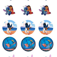 Lilo and Stitch 2 sheets of bottle cap images 30 images total