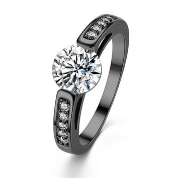 Altar Ego Tension Set Zirconia and Black Gold Solitaire Ring