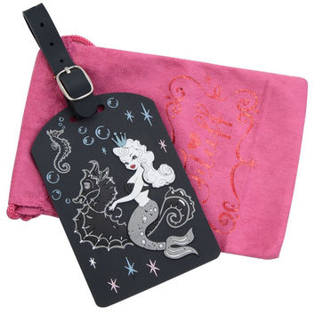 Fluff Rockabilly Pearla Mermaid & Seahorse  Luggage Tag with Pink Pouch