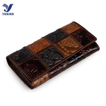 Fashion Women Purse Women Patchwork Genuine Leather Female Clutch Vintage National Long Wallet Women Luxury Brand Designer Gift