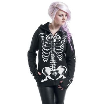 Skull Print Gothic Punk Long Sleeve Hoodies Plus Size Sweatshirt Streetwear Black Zipper Jacket