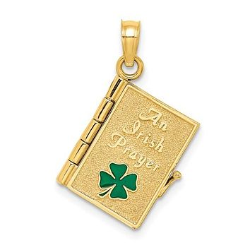 14K Yellow Gold An Irish Prayer Celtic Necklace Charm