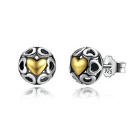 925 Sterling Silver My One True Love Stud Earrings for Women Openwork Heart Earrings Fine Jewelry