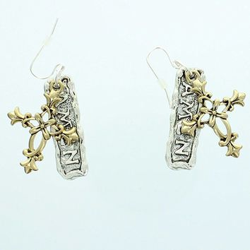 "Womens Dangle Earrings, Gold Cross Charm & Silver ""AMEN"" Charm"