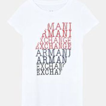 Armani Exchange TYPEWRITTEN LOGO TEE, Logo T Shirt for Women | A|X Online Store