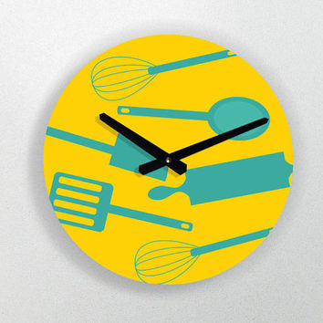 "Kitchen Art - Modern decorative Illustration wall clock - 11"" Diameter - No Ticking Sound"