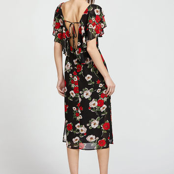 Flower Print Cape Collar Tied V Back Dress | MakeMeChic.COM