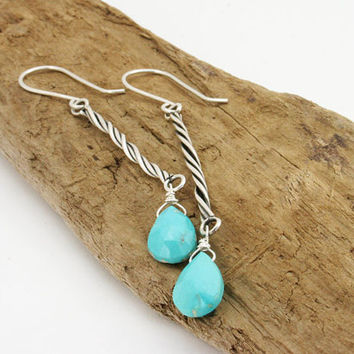 Turquoise earrings. Sleeping beauty turquoise and sterling silver twist dangle earrings. Long blue drop handmade, unique. jewelry.