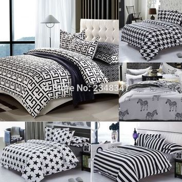 Fashion 4Pcs Twin/Full/Queen Size Bed Quilt/Duvet/Doona Cover Set &Sheet&Sham White Black Striped Houndstooth Stars Plaid Zebra