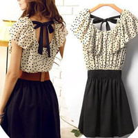 Romantic moments — lovely dress with polla dot belt bow