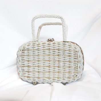 Small Vintage White Beaded Handbag / Bridal Purse / something old / Wire Purse - Vintage Walborg Handmade in Hong Kong White Handbag