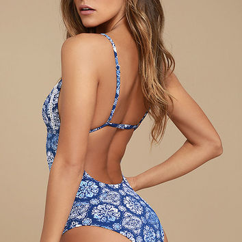 Rhythm Pasha Blue Print One Piece Swimsuit