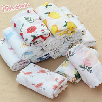 PINK SWAN 100%Cotton aden anais Flamingo fruit Muslin Baby Blankets Bedding Infant Swaddle Towel For Newborns Swaddle Blanket