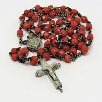 Antique French, Coral Rosary, Silver, Reliquary Crucifix