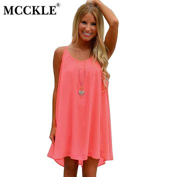 MCCKLE Women's Summer Neon Strap Chiffon Dresses Summer Casual Beach Holiday Plus Size Hollow Out Sleeveless Vestidos Feniminous
