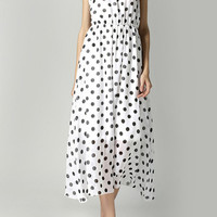 White Polka Dot Chiffon Maxi Dress with Tie Back Neck