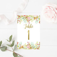 Watercolor Floral Wedding Table Numbers 1-20 - Printable Table Numbers - Table Signs - Floral Wedding Decor - 4x6 - Party Printables
