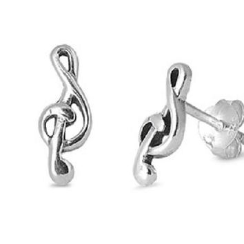 Sterling Silver Multiple Musical Notes Stud Earring (11mm)