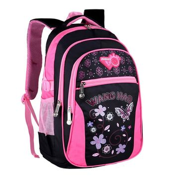 2017 Children School Bags for Girls Butterfly Printing Backpack Waterproof Kids Shoulder Book Bag pack mochila 2 sizes