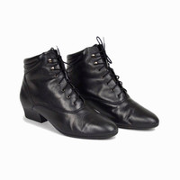 Vintage 90s Black Leather Booties / Low Heeled Boots - women's 9