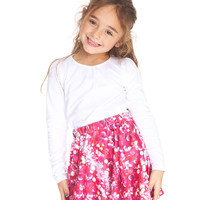Kids Pink Sequins Skater Skirt
