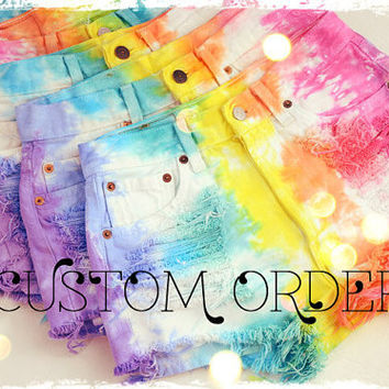 CUSTOM MADE Vintage Levis 501 RAINBOW Tie Dyed Denim High Waist Cut off Shorts